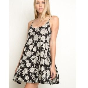Brandy Melville Black and Cream Floral Dress